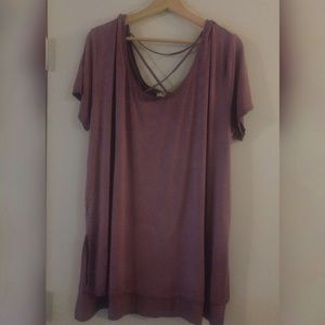 Umgee Strappy Tunic in Dusty Mauve XL